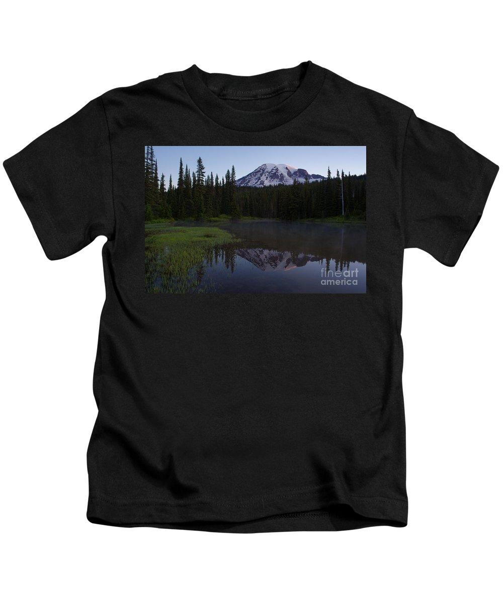 Mount Rainier Kids T-Shirt featuring the photograph Rainier Awakening by Mike Reid