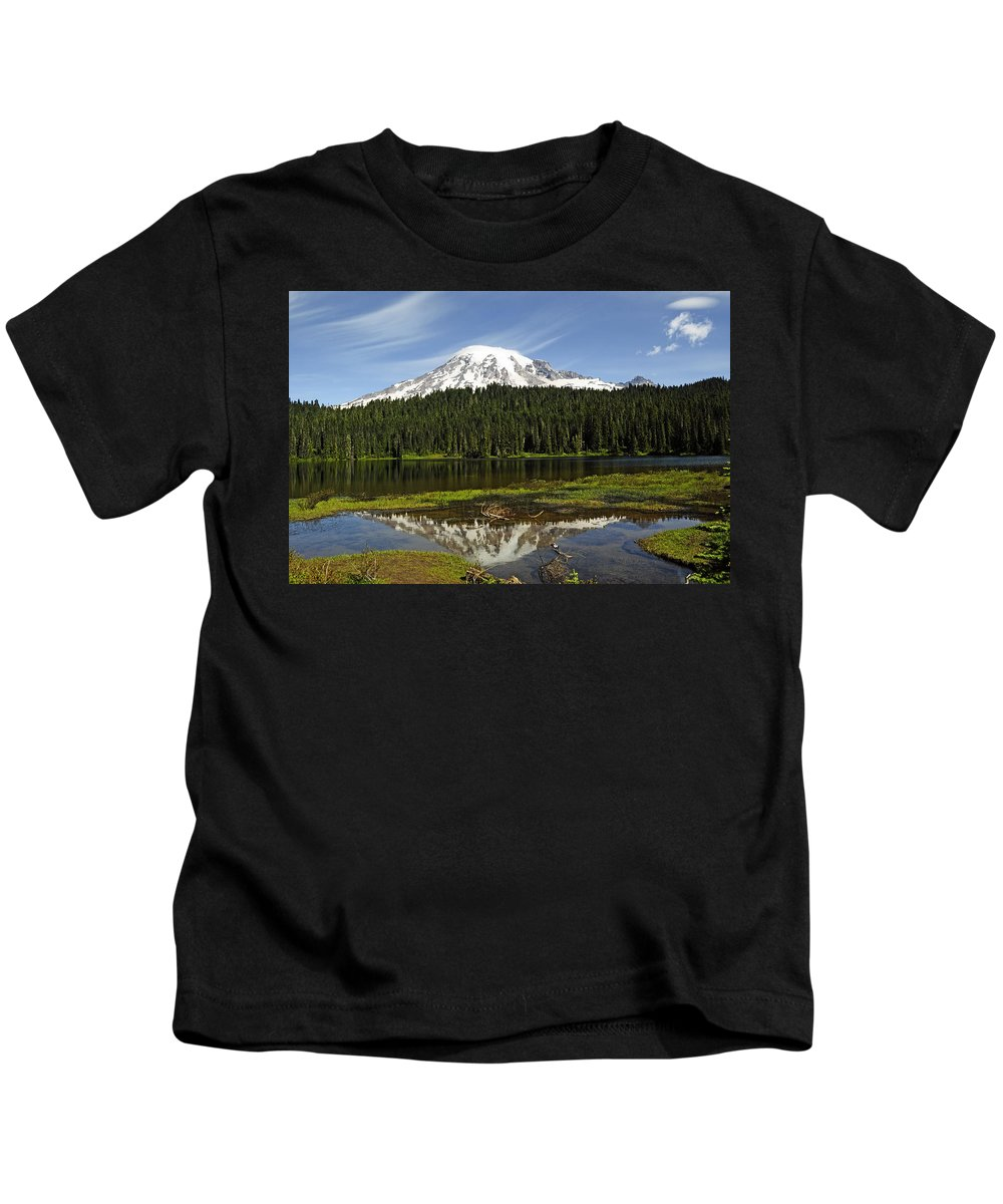 Mt Rainier Kids T-Shirt featuring the photograph Rainier's Reflection by Tikvah's Hope