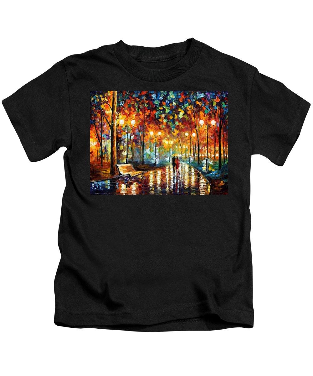 Leonid Afremov Kids T-Shirt featuring the painting Rain's Rustle 2 - Palette Knife Oil Painting On Canvas By Leonid Afremov by Leonid Afremov