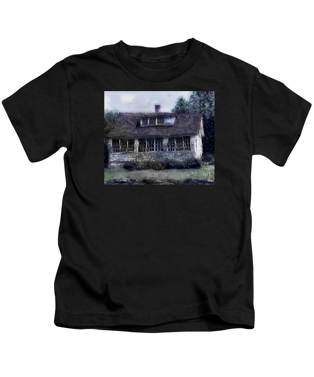 House Kids T-Shirt featuring the painting Rainy Day Long Ago House by RC deWinter