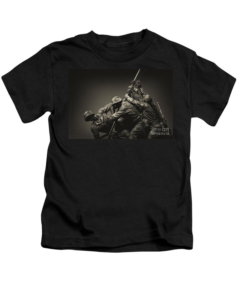 Marines Kids T-Shirt featuring the photograph Raising The Flag On Iwo by Paul W Faust - Impressions of Light