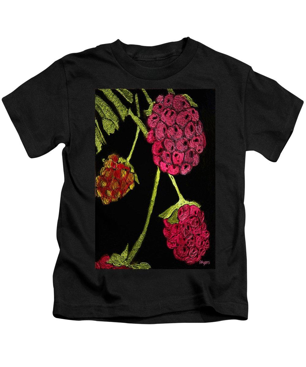 Raspberries Kids T-Shirt featuring the painting Raspberry Fabric by Paula Ayers
