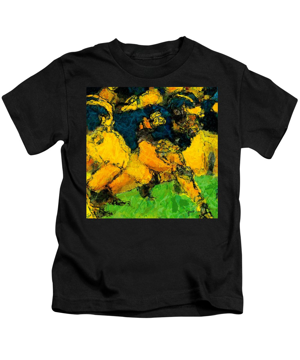 Lineman Kids T-Shirt featuring the painting Ready Snap Go by John Farr
