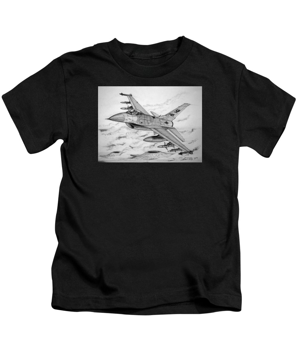 F-16 Fighting Falcon Kids T-Shirt featuring the drawing Ready To Intercept by Chris Dang
