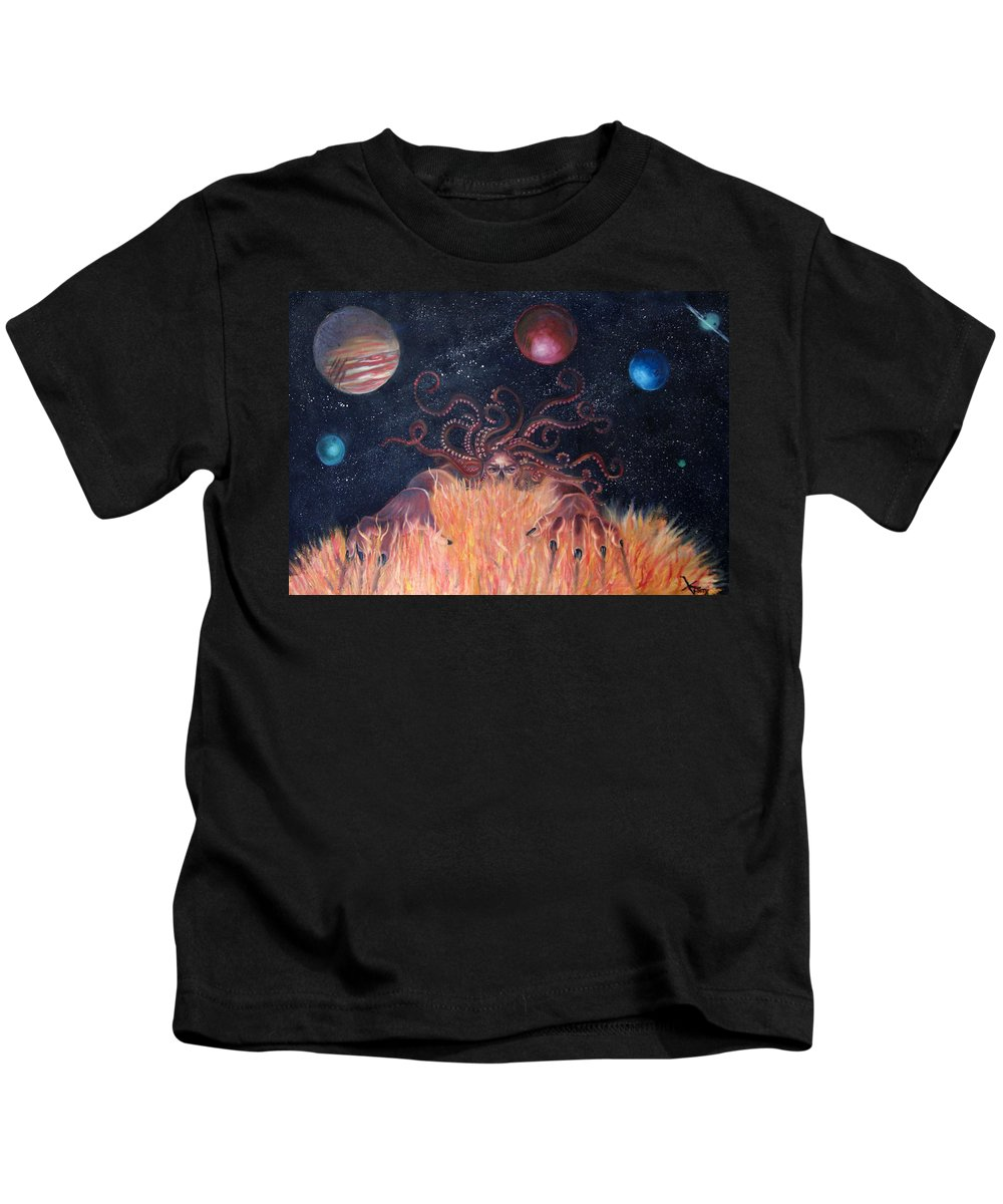 Cuthulu Kids T-Shirt featuring the painting Recreation by Nina Efk