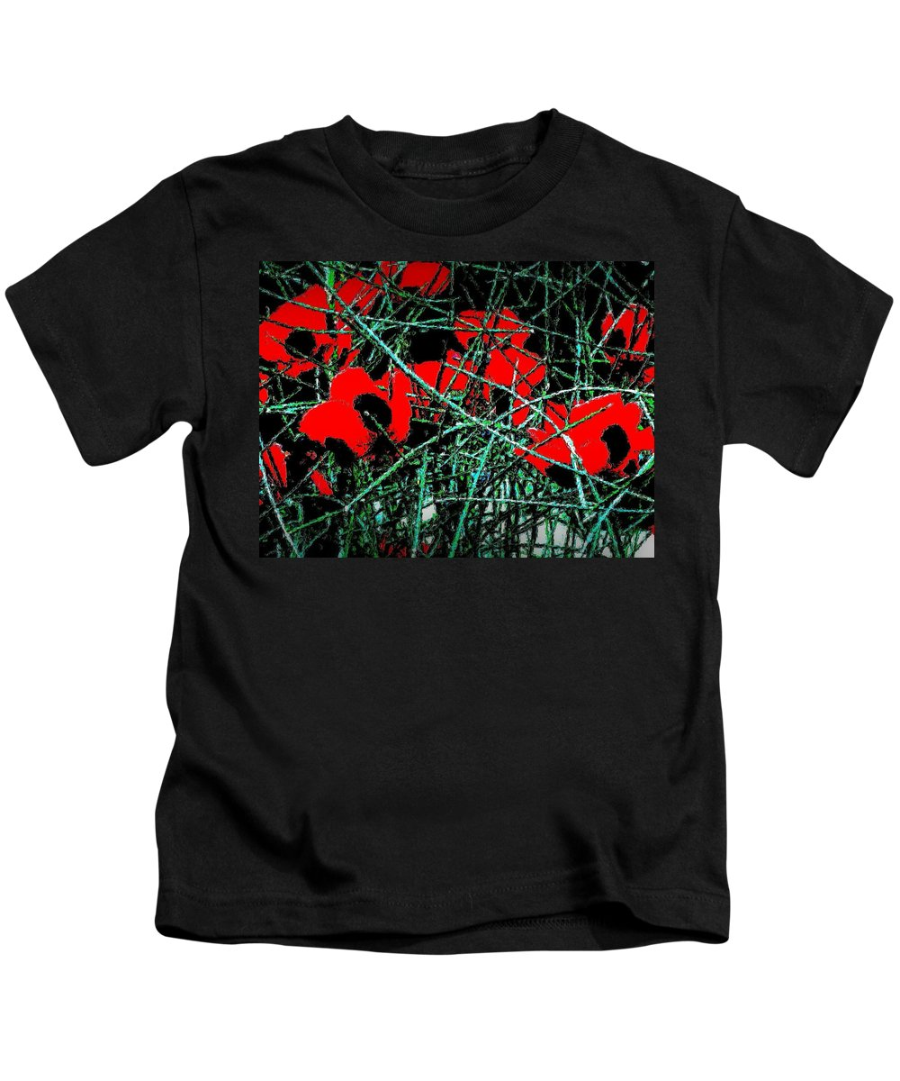 Poppies Kids T-Shirt featuring the photograph Red An Black Poppies 1 by Nadalyn Larsen