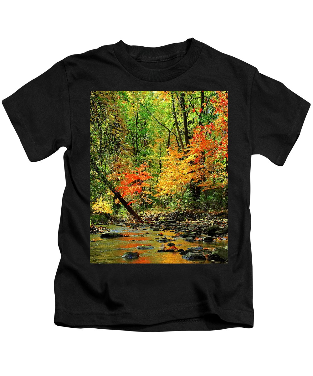 Red Kids T-Shirt featuring the photograph Red And Yellow Water Glow by Frozen in Time Fine Art Photography