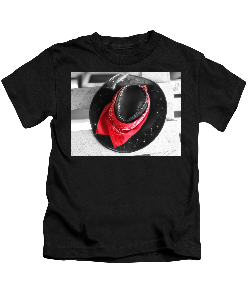 Red Bandana And Cowboy Hat Kids T-Shirt featuring the photograph Red Bandana And Cowboy Hat by Dan Sproul