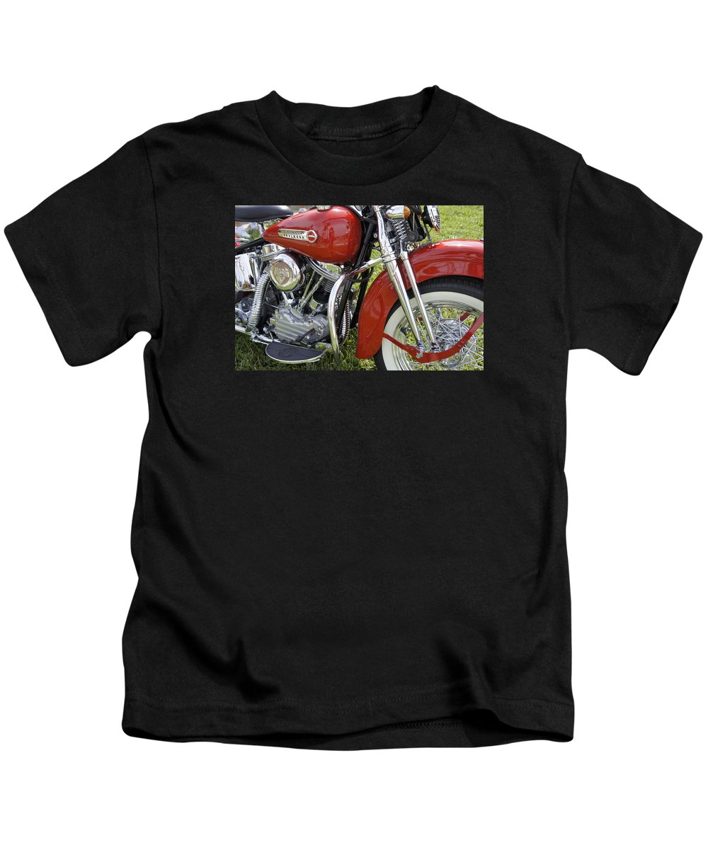 Antique Harley Kids T-Shirt featuring the photograph Red Beauty by Laurie Perry