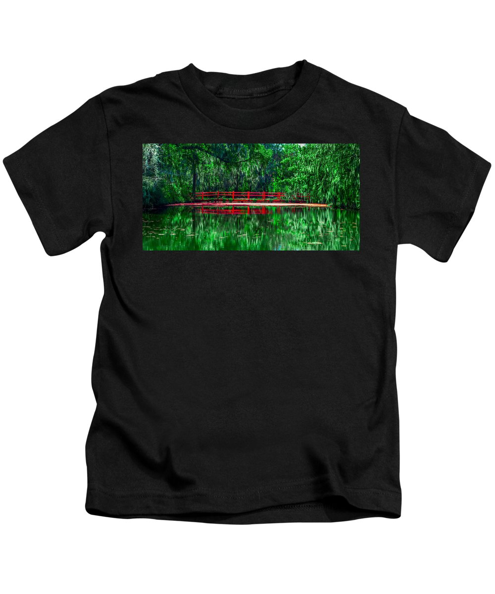 Optical Playground By Mp Ray Kids T-Shirt featuring the photograph Red Bridge by Optical Playground By MP Ray