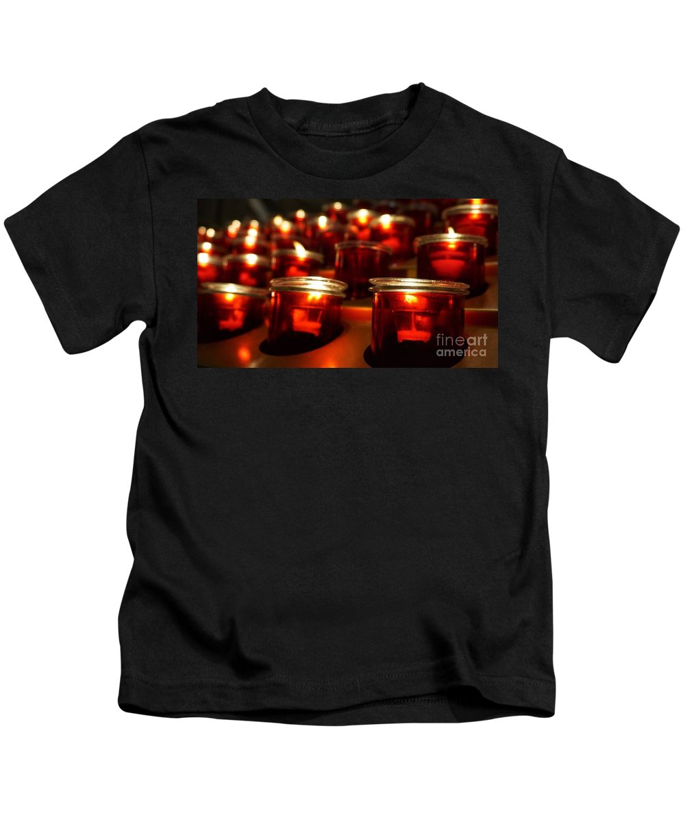 Candles Kids T-Shirt featuring the photograph Red Candles by Traci Law