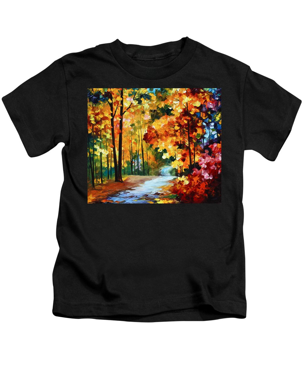 Autumn Kids T-Shirt featuring the painting Red Fall by Leonid Afremov