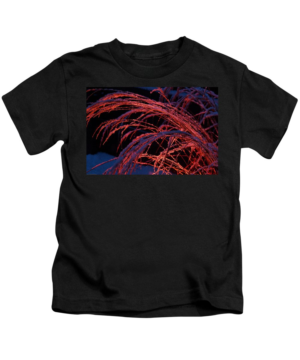 Snow Kids T-Shirt featuring the photograph Red Light In Snow-heavy Grass by Mick Anderson