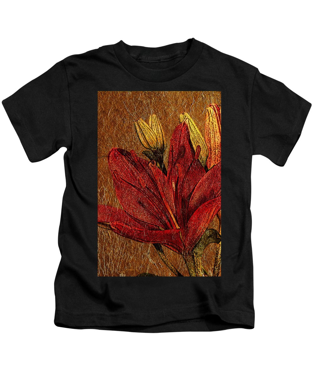 Flower Kids T-Shirt featuring the photograph Red Lily Gold Leaf by Phyllis Denton