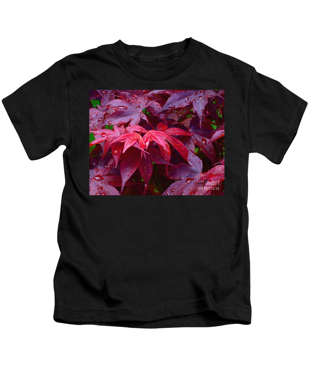 Rain Kids T-Shirt featuring the photograph Red Maple After Rain by Ann Horn