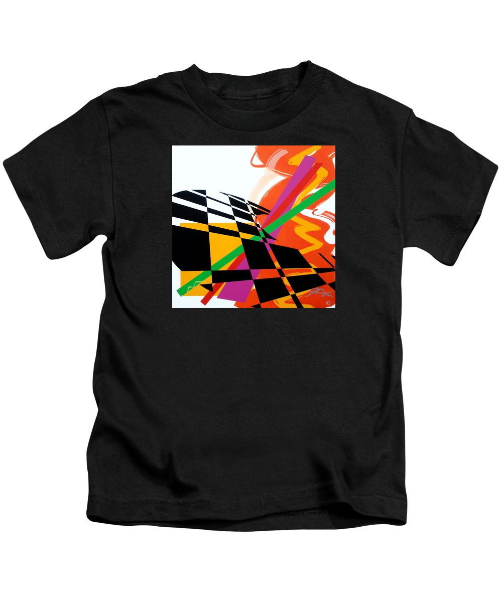 Abstract Kids T-Shirt featuring the painting Red Movement by Jean Pierre Rousselet