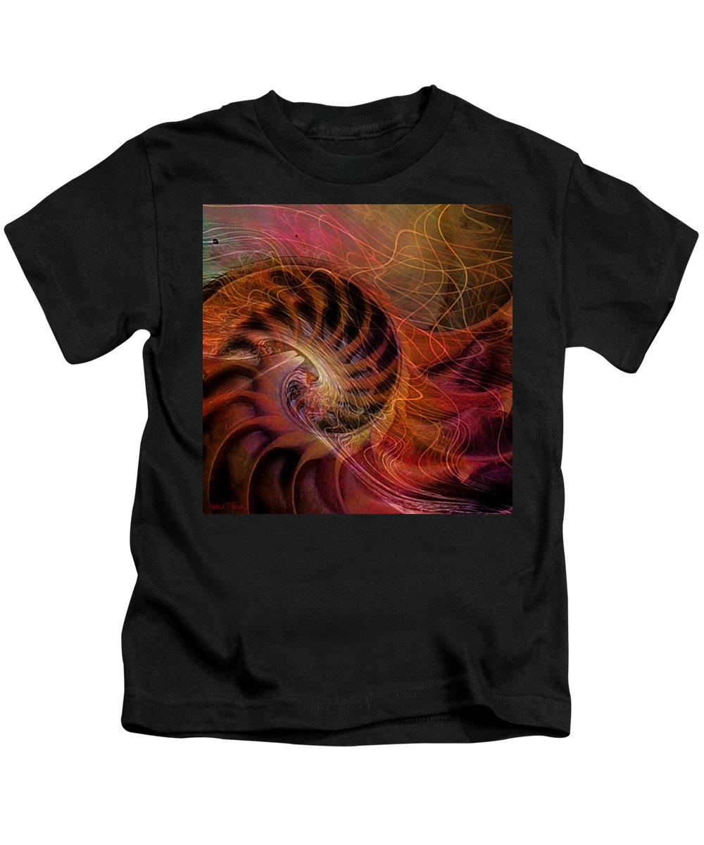 Nautilus Kids T-Shirt featuring the digital art Red Nautilus by Barbara Berney