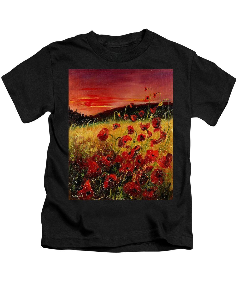 Poppies Kids T-Shirt featuring the painting Red Poppies And Sunset by Pol Ledent