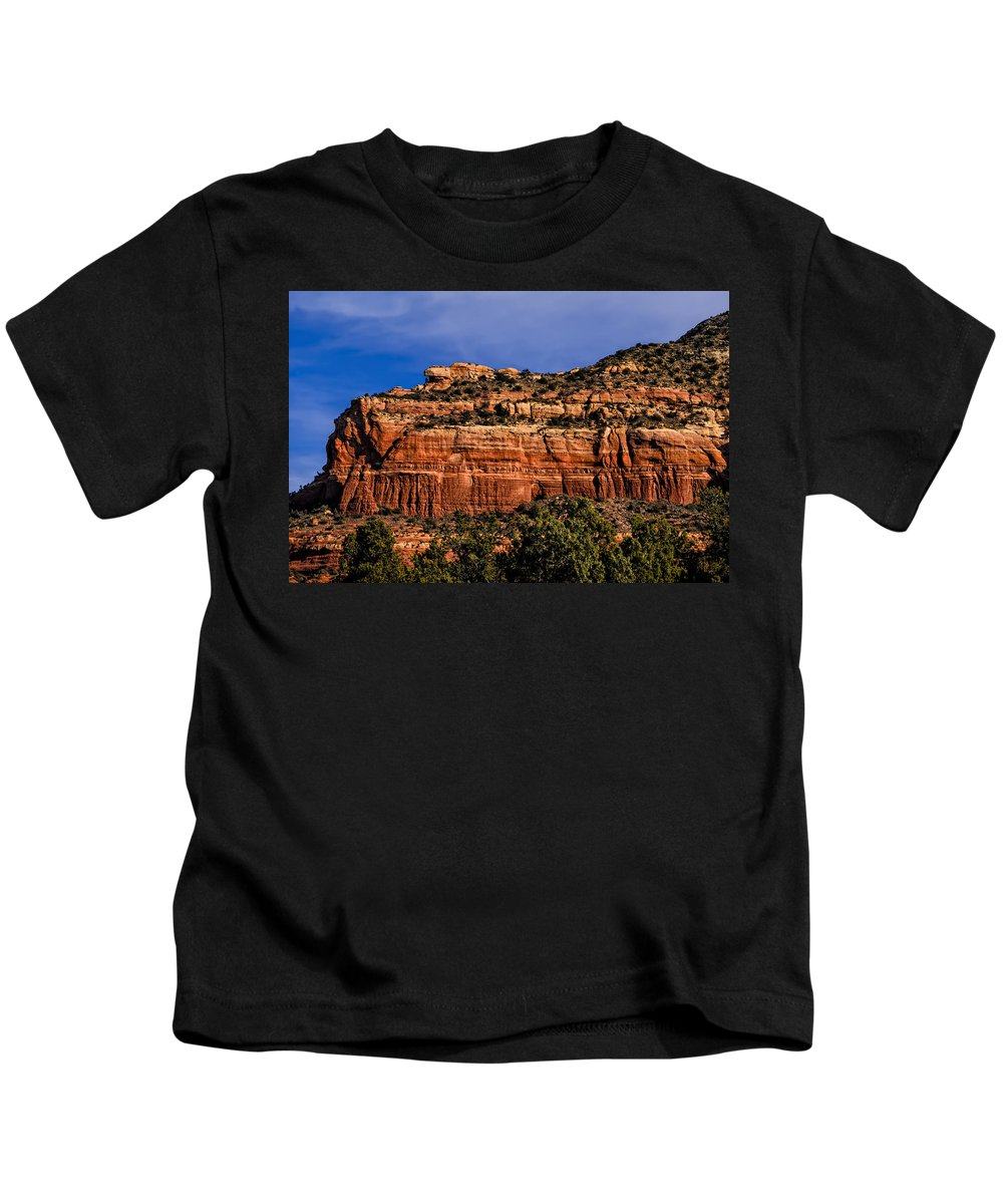 2014 Kids T-Shirt featuring the photograph Red Rock Crag by Mark Myhaver