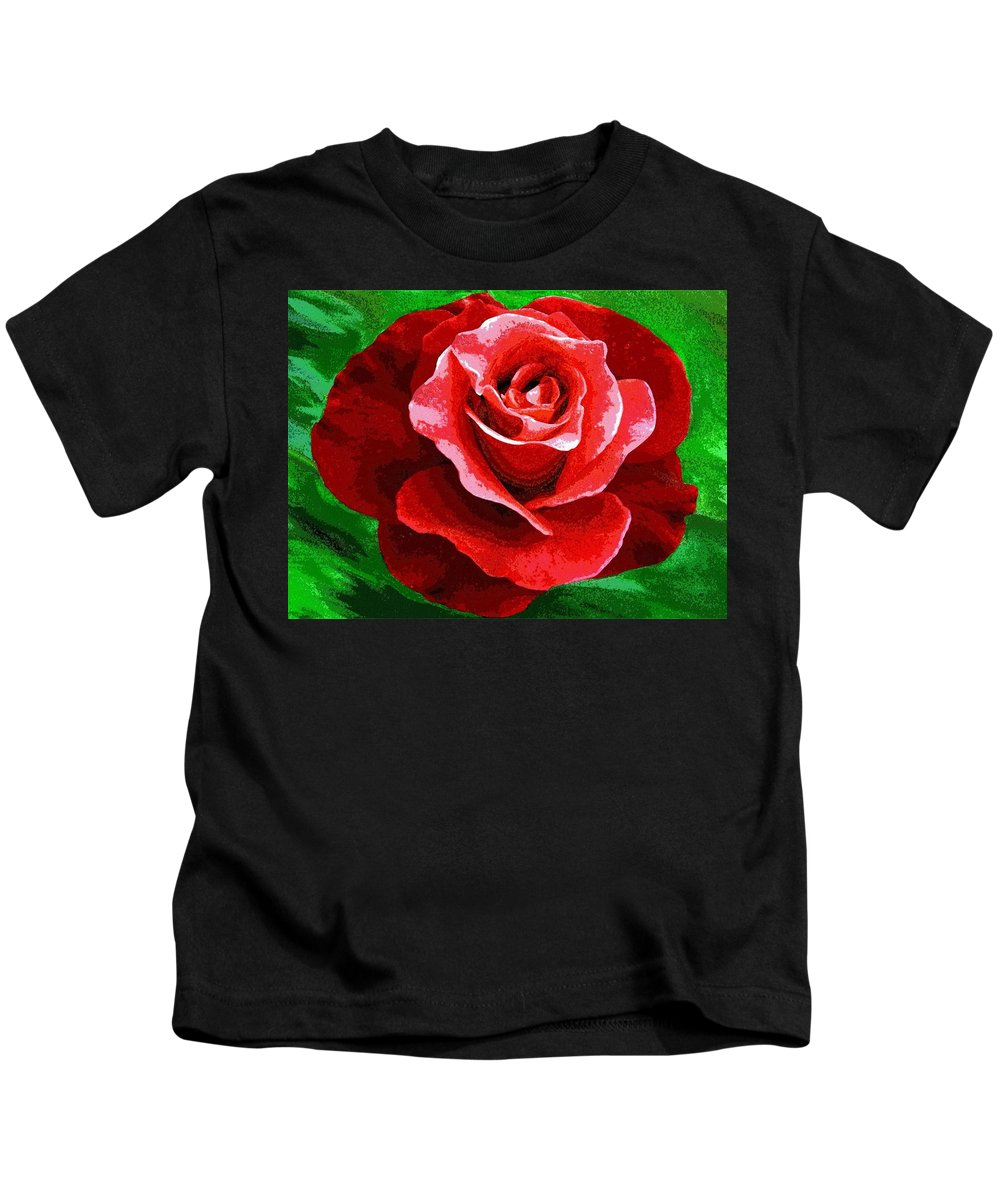 Red Rose Radiance Kids T-Shirt featuring the digital art Red Rose Radiance by Will Borden