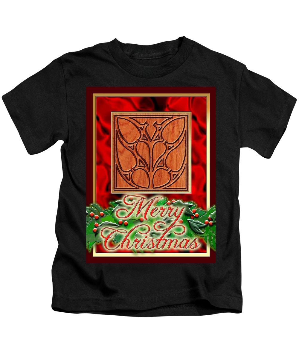 Christmas Kids T-Shirt featuring the digital art Red Satin Christmas by Melissa A Benson