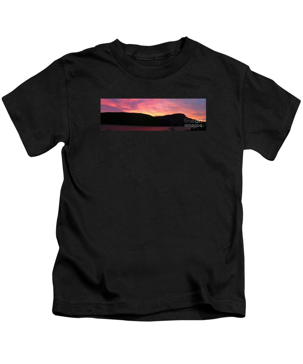 Barbara Griffin Kids T-Shirt featuring the photograph Red Sky at Morning Sailors Take Warning by Barbara Griffin