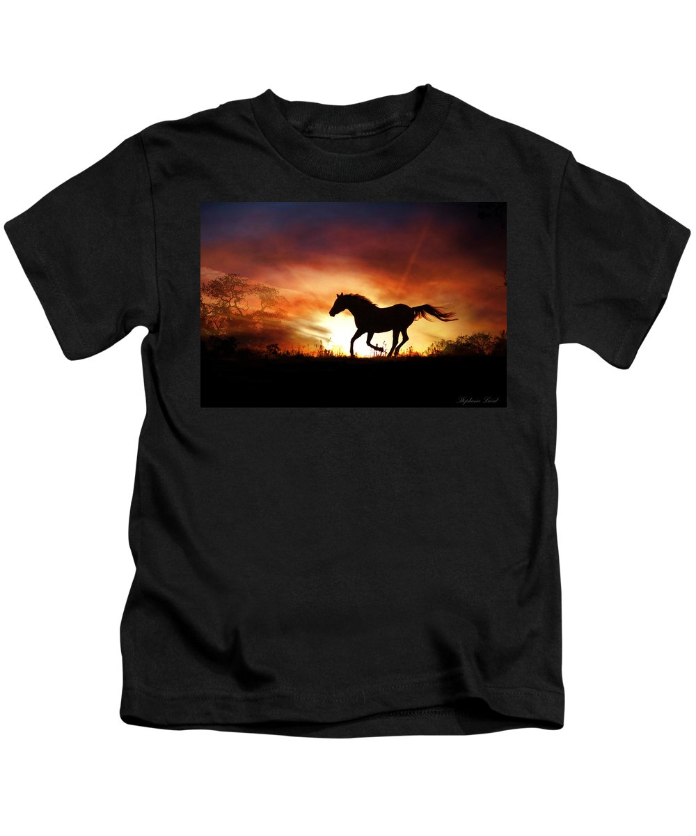 Horse Kids T-Shirt featuring the photograph Red by Stephanie Laird