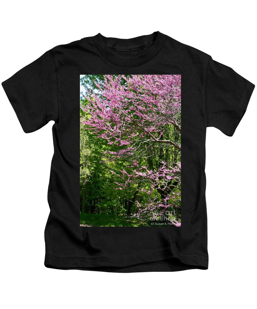 Flower Kids T-Shirt featuring the photograph Redbud In The Woods by Susan Herber