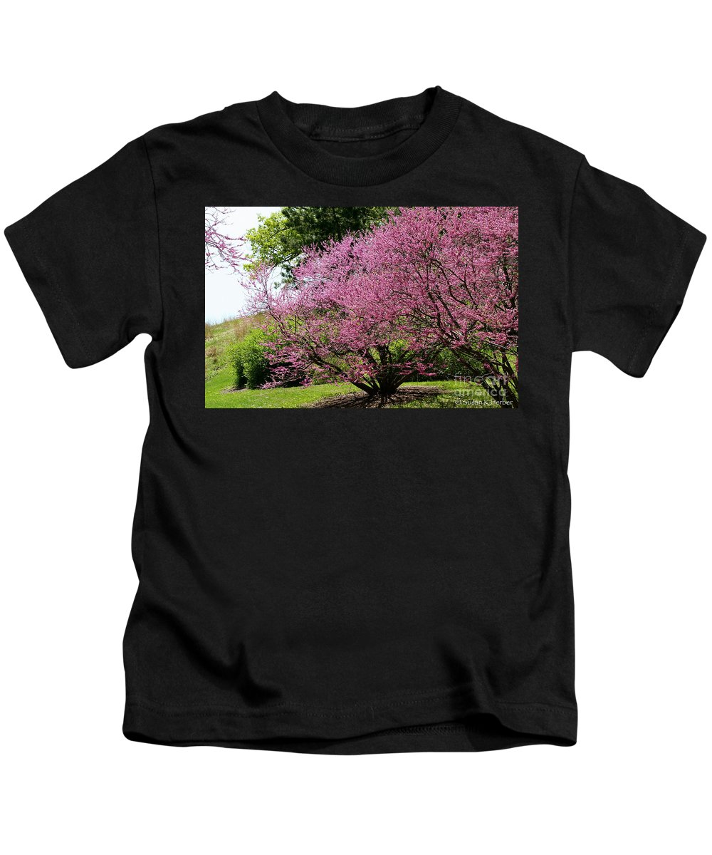 Flower Kids T-Shirt featuring the photograph Redbuds In Action by Susan Herber
