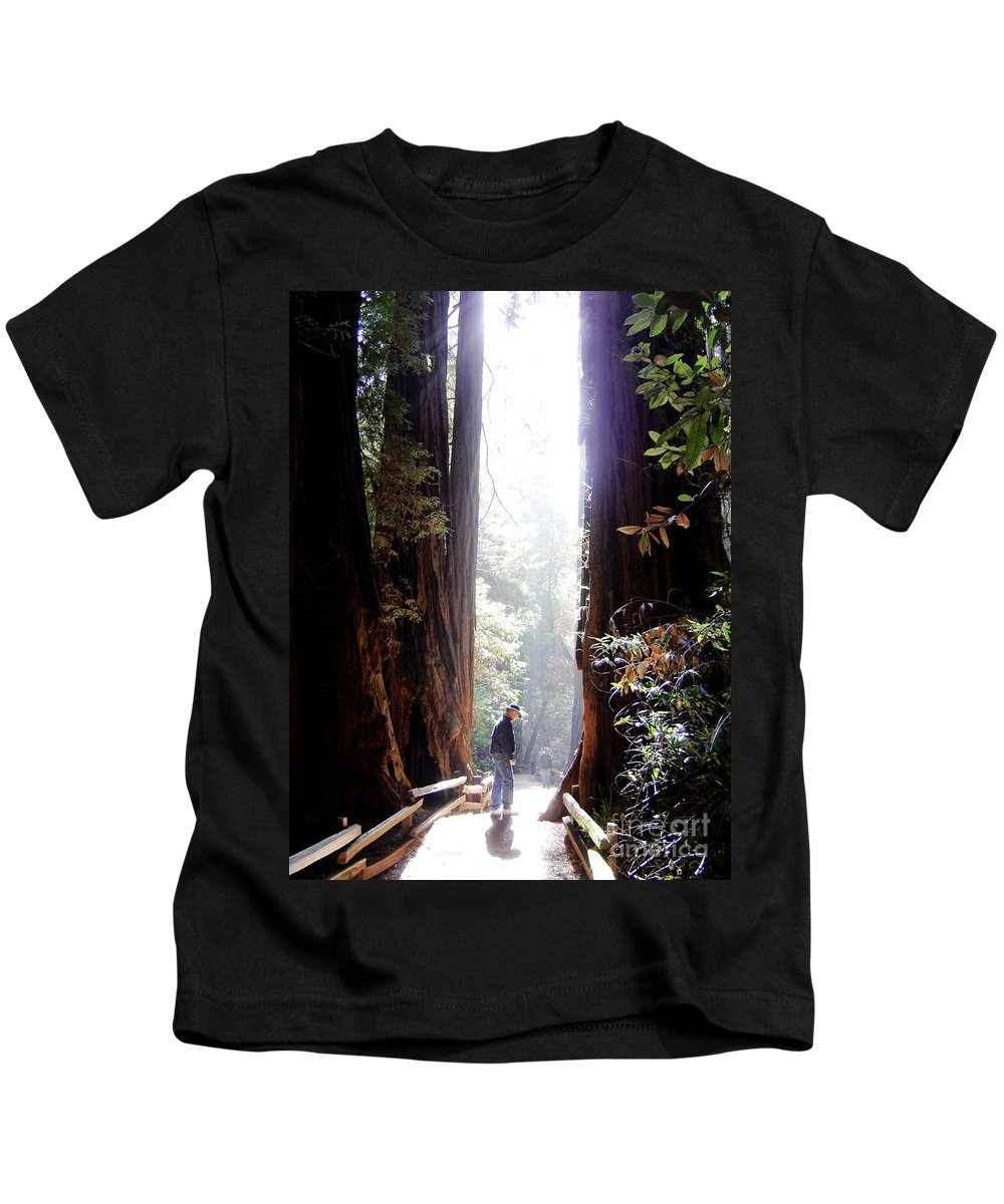 Pathway Kids T-Shirt featuring the photograph Redwood Path by Mary Rogers