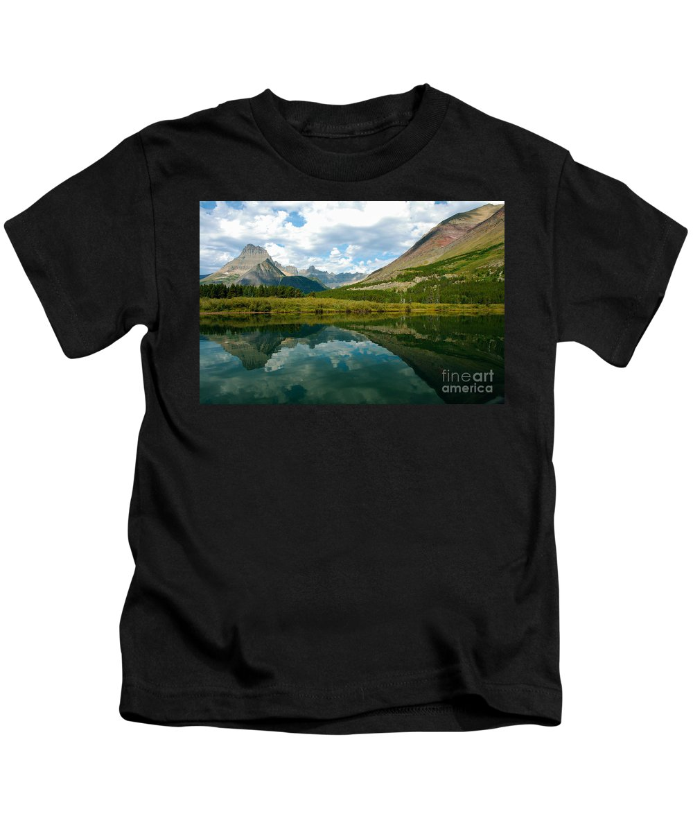 Glacier National Park Kids T-Shirt featuring the photograph Reflection At Glacier National Park by Denise Lilly