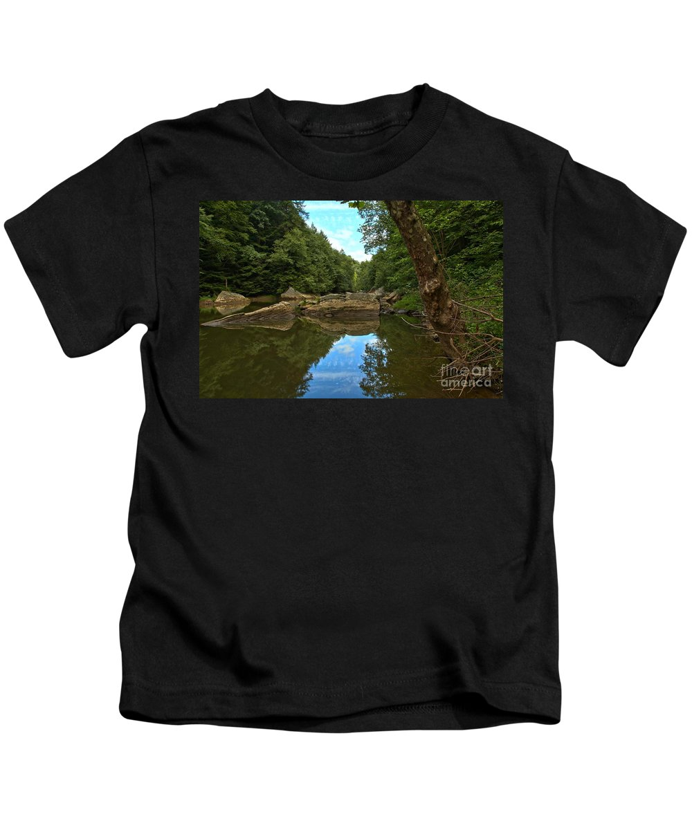 Slippery Rock Creek Kids T-Shirt featuring the photograph Reflections In Slippery Rock Creek by Adam Jewell