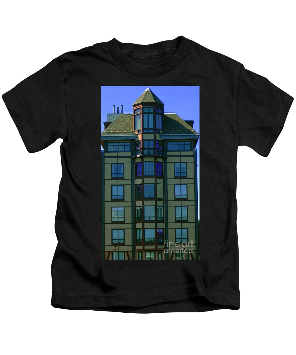 Building Kids T-Shirt featuring the photograph Reflections In Windows by Kathleen Struckle