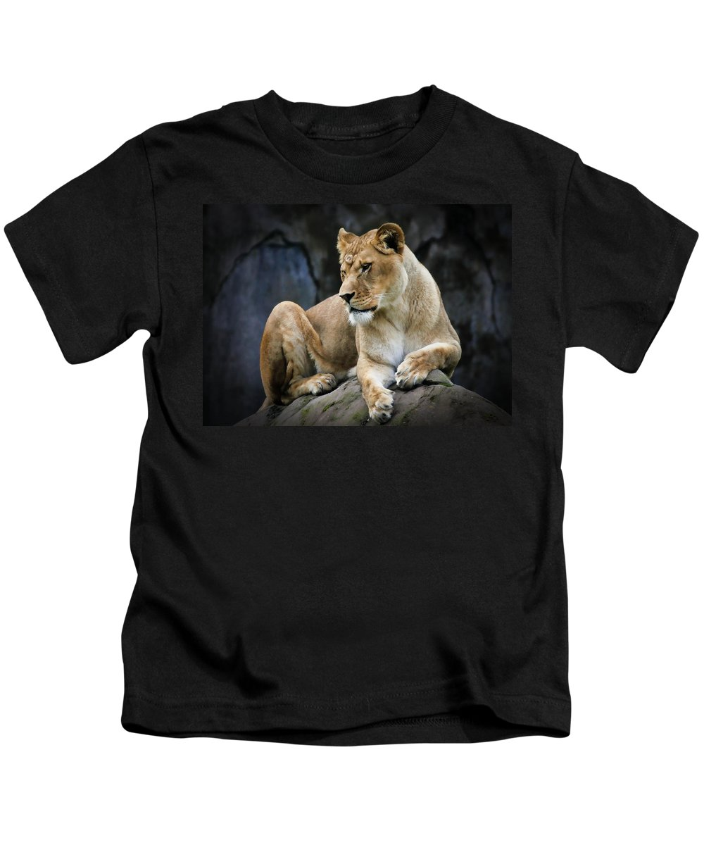 Lion Kids T-Shirt featuring the photograph Reflections Of A Lioness by Athena Mckinzie