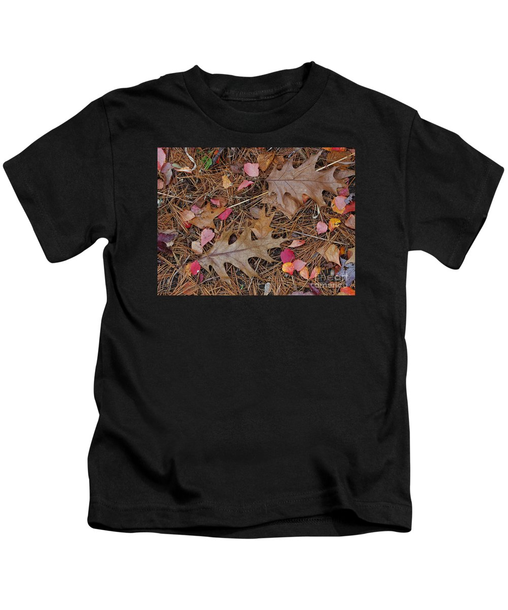 Leaf Kids T-Shirt featuring the photograph Remainders by Ann Horn