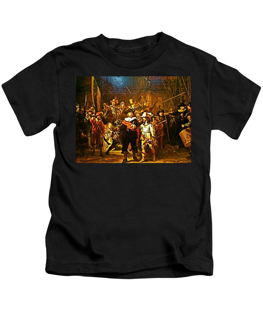 Rembrandt Painting Covered A Wall In Rijksmuseum In Amsterdam Kids T-Shirt featuring the photograph Rembrandt Painting Covered A Wall In Rijksmuseum In Amsterdam-netherlands by Ruth Hager