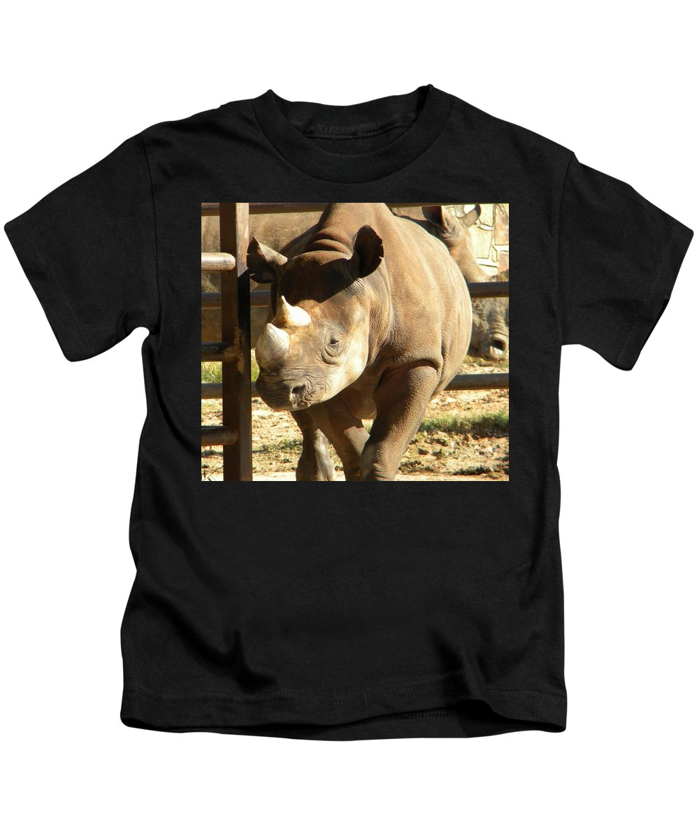 Zoo Kids T-Shirt featuring the photograph Rhino by Nathanael Smith