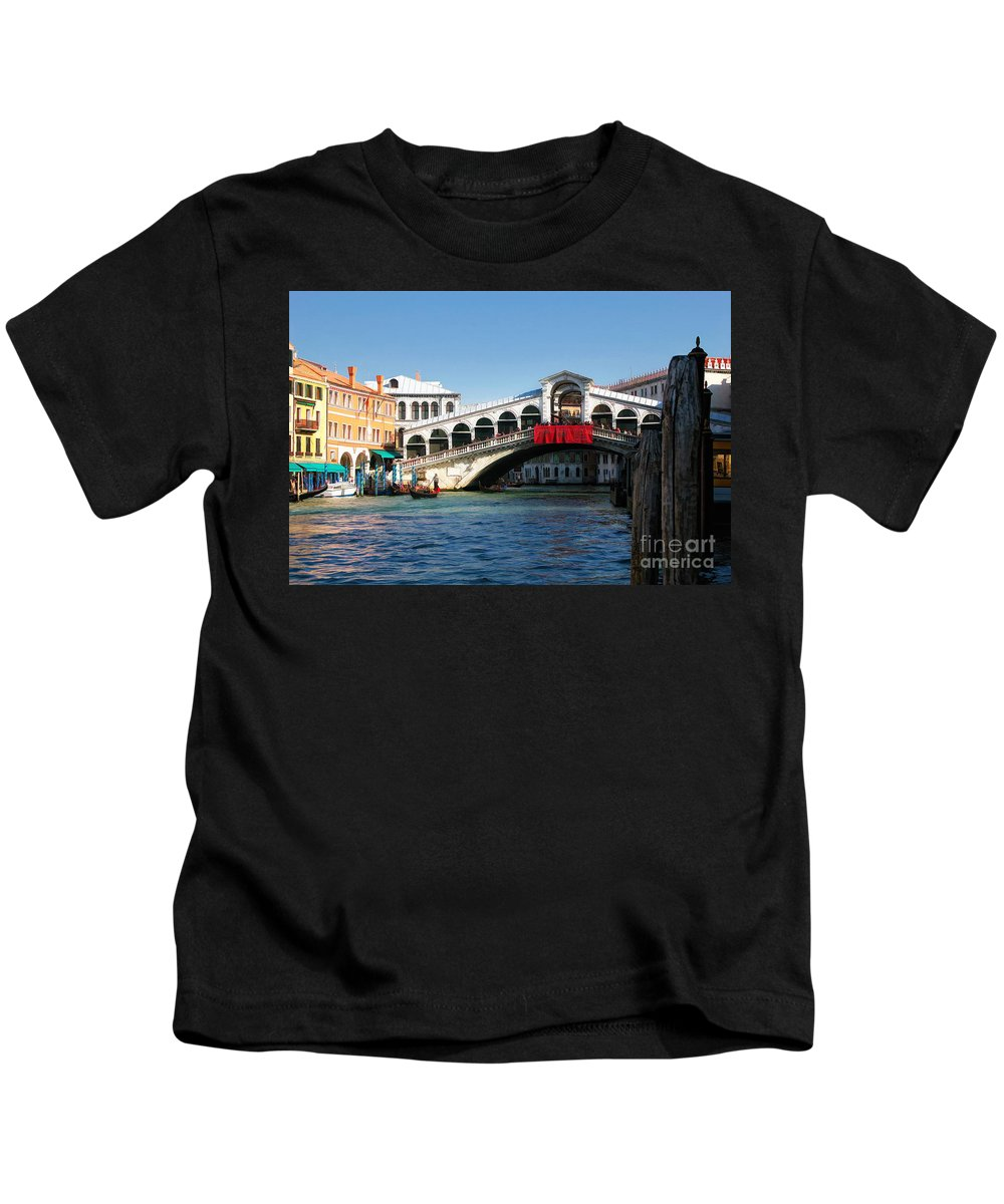 Italy Kids T-Shirt featuring the photograph Rialto Bridge Venice by Timothy Hacker