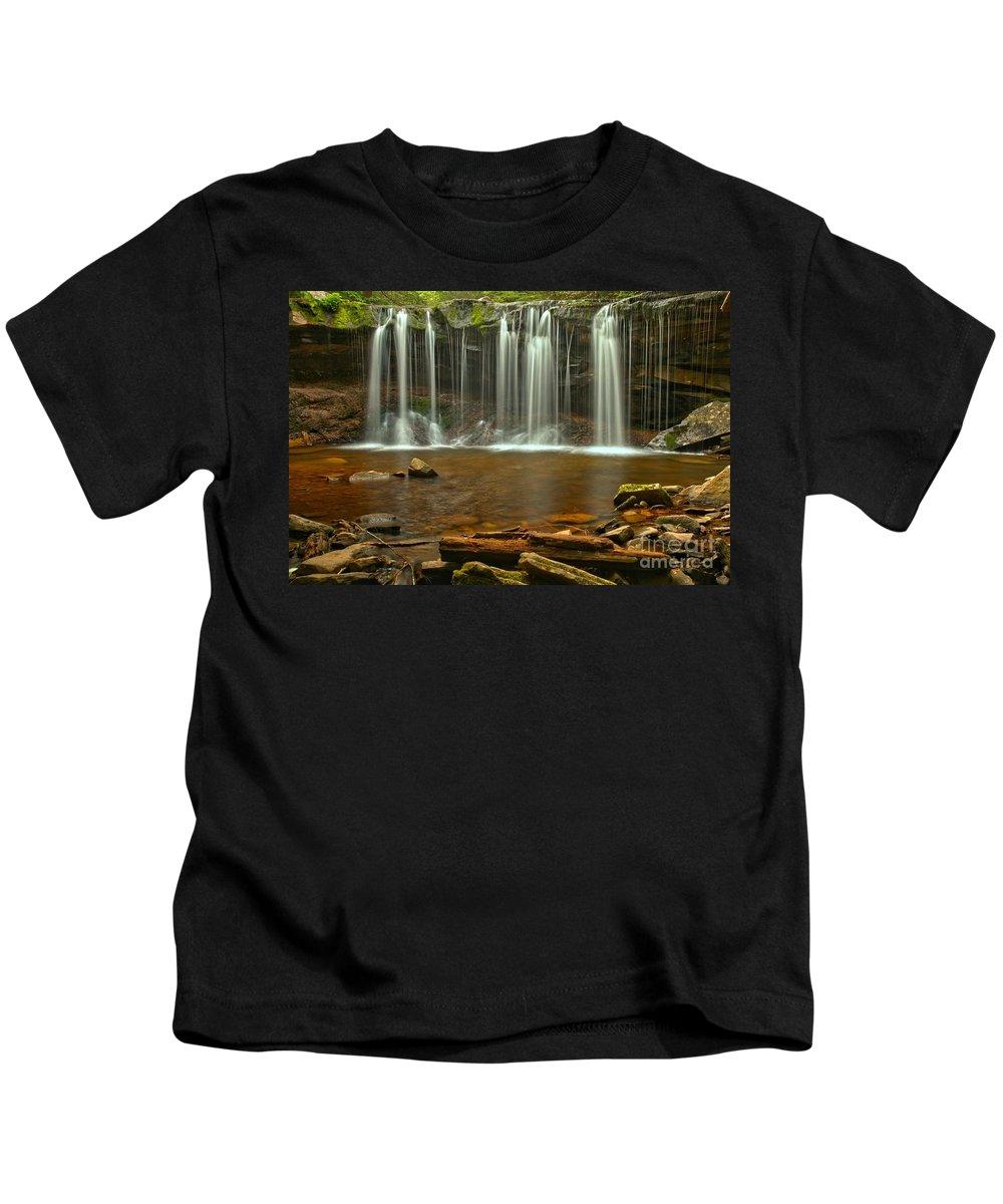 Oneida Falls Kids T-Shirt featuring the photograph Ricketts Glen Oneida Falls by Adam Jewell