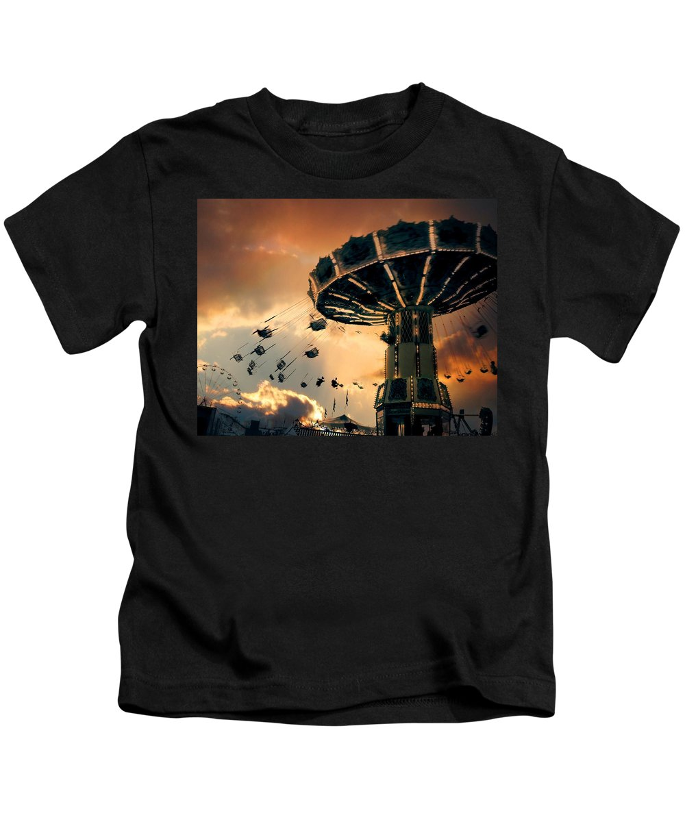 Clouds Kids T-Shirt featuring the photograph Ride The Clouds by Gothicrow Images