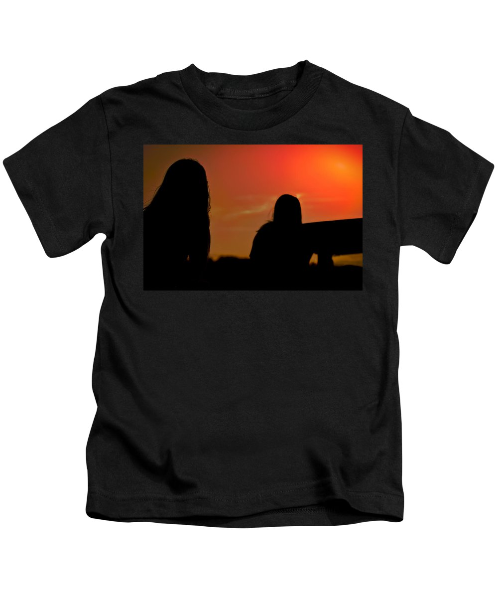 Texas Sunset Kids T-Shirt featuring the photograph Riding Into The Sunset by Kim Henderson