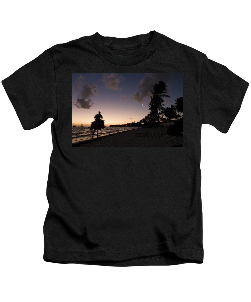 3scape Photos Kids T-Shirt featuring the photograph Riding On The Beach by Adam Romanowicz