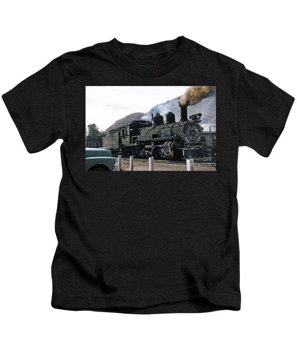 Rio Grande Railway Kids T-Shirt featuring the photograph Rio Grande Railway Baldwin Built In 1903 No. 464 Circa 1955 by California Views Archives Mr Pat Hathaway Archives