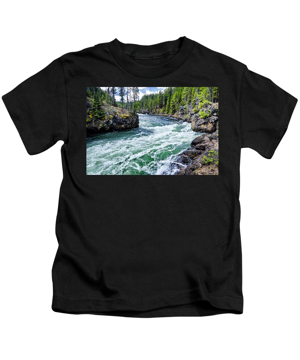 Yellowstone National Park Kids T-Shirt featuring the photograph River Power by Jon Berghoff
