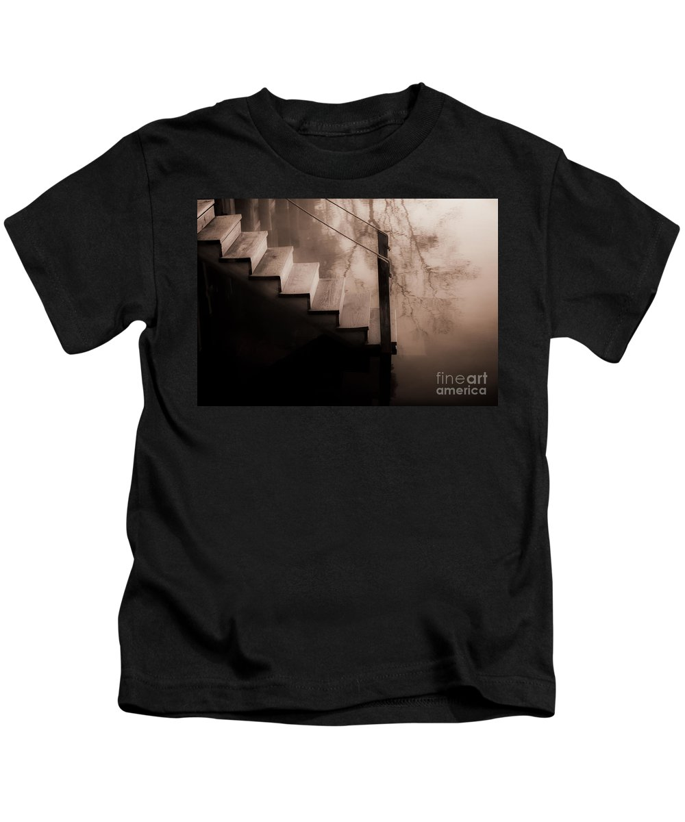 Steps Kids T-Shirt featuring the photograph River Steps by Beth Riser