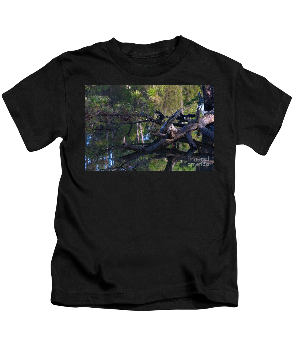 Dead Wood Kids T-Shirt featuring the photograph River Wood by Dale Powell