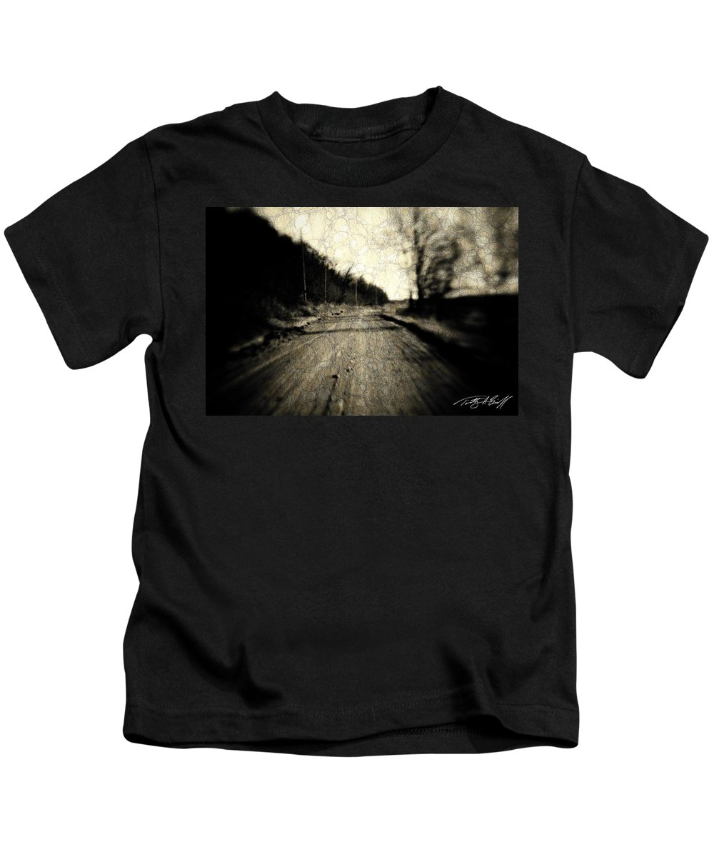 B&w Kids T-Shirt featuring the photograph Road Of The Past by Timothy Bischoff