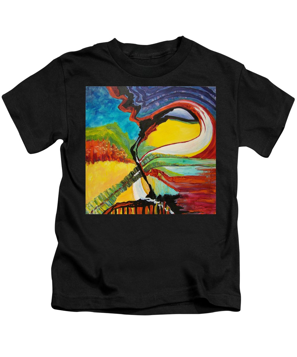 In Focus Kids T-Shirt featuring the painting Road To Glory by Mtnwoman Silver