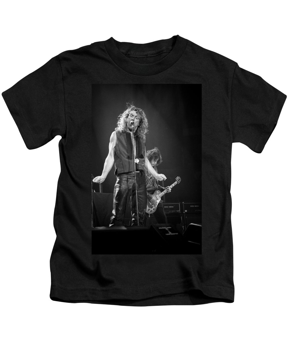 Robert Plant Kids T-Shirt featuring the photograph Robert Plant And Jimmy Page by Timothy Bischoff