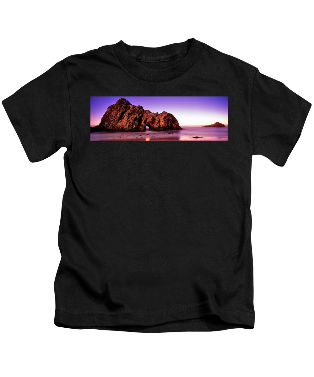 Photography Kids T-Shirt featuring the photograph Rock Formations On The Beach, Pfeiffer by Panoramic Images